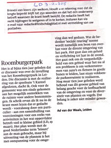 LD 20150403 Ingezonden brief Ad Van der Waals